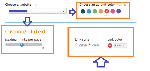 customization options for Infolinks in text ad format