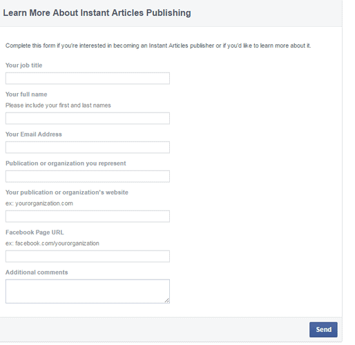 How to join FAcebook Instant articles