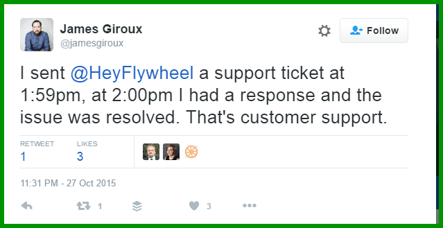 I sent HeyFlywheel a support ticket at 1 59pm at 2 00pm I had a response and the issue was resolved. That s customer support