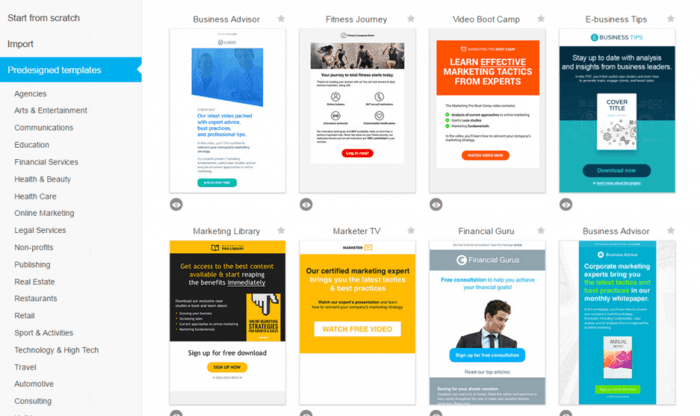 choose a newlesster template getresponse tutorial