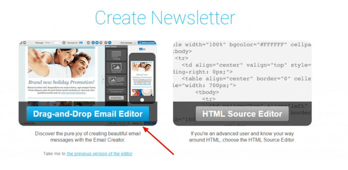 create a email newsletter with getresponse