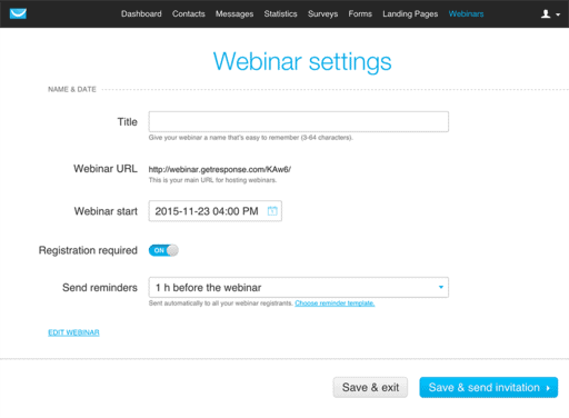 create a webinar with getresponse