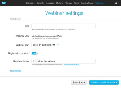create a webinar with getresponse