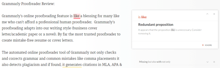 Redundant words corrector Grammarly review