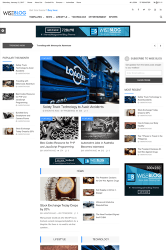 Wiseblog Best WordPress AdSense Friendly Theme With High CTR ad slots