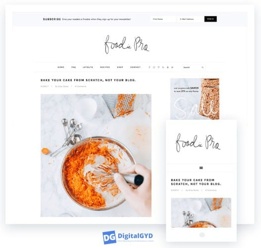 Foodie pro theme review: mobile responsive test