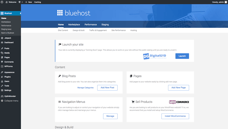 New improved version of Bluehost Site launch