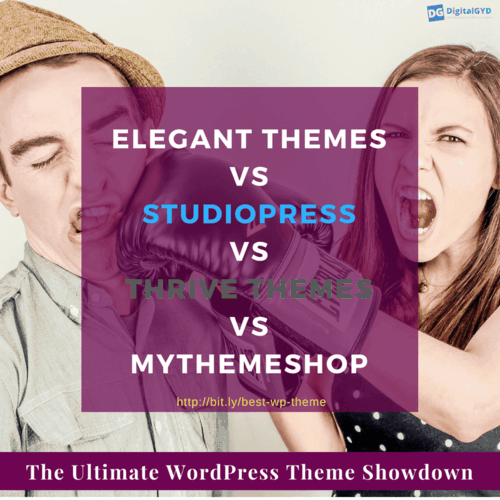 Which is the best WordPress theme for my site? Here is the ultimate review and face off of Elegant Themes vs. StudioPress Themes vs. Thrive Themes vs. MyThemeShop. Check out which one is the best for you.