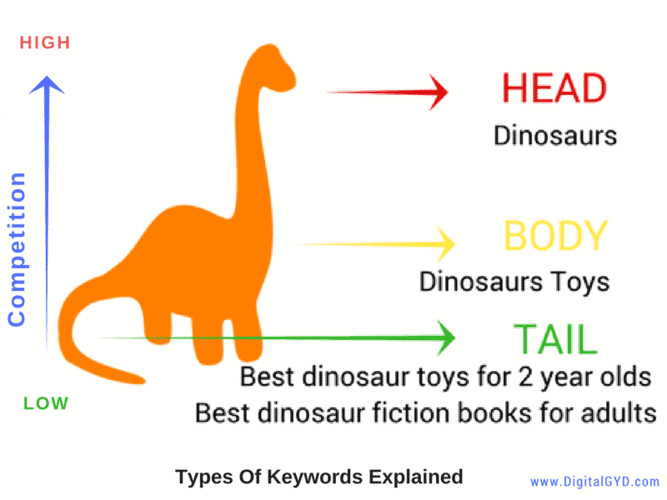 Types of keywords: Head, body and long tail keywords