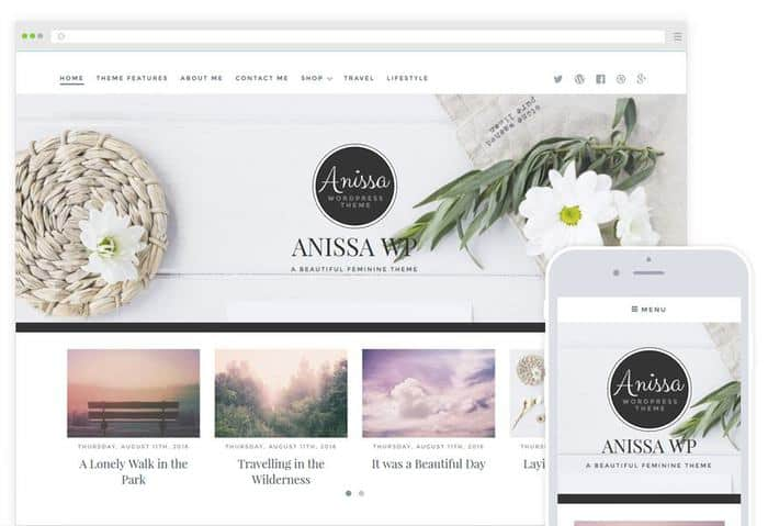 Anisa Feminine Blogging WordPress Theme