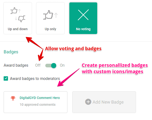 How to award badges to active commenters