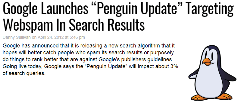 Google Launches Penguin Update Targeting Webspam In Search Results