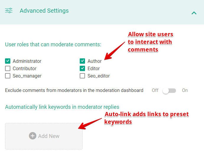 Allow specific roles to moderate site comments