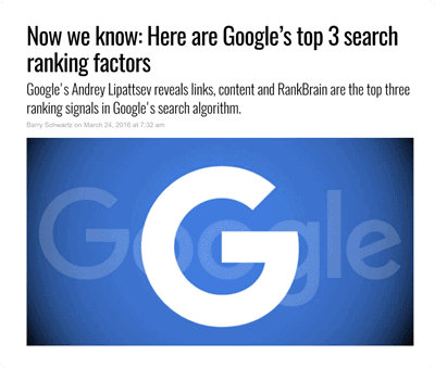 Google's top 3 ranking factor study