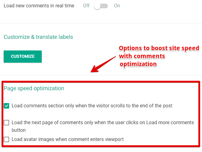 How to increase site spped by disabling gravatars