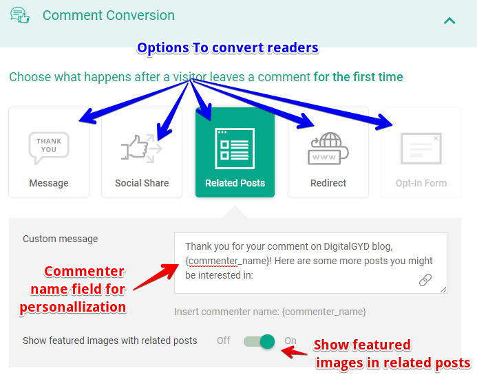 how to set related posts in thrive comments