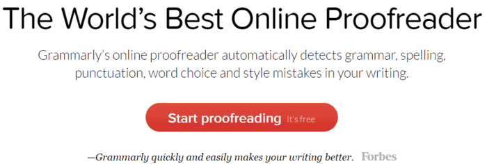 Grammarly online proofreader tool