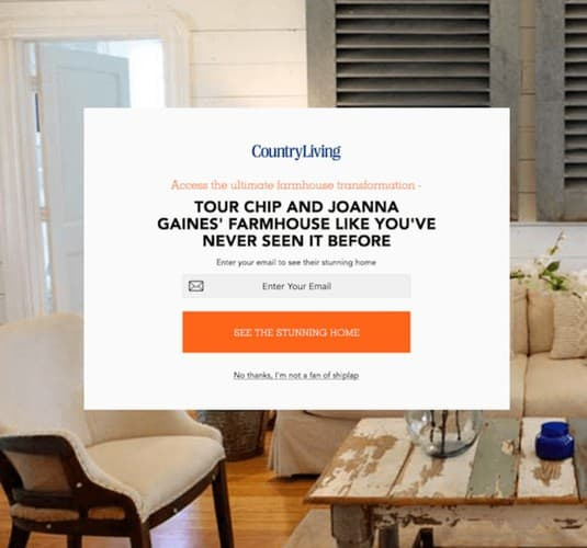Popup personalization example 1