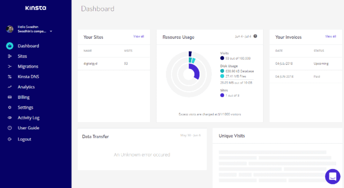 kinsta hosting review - the dashboard