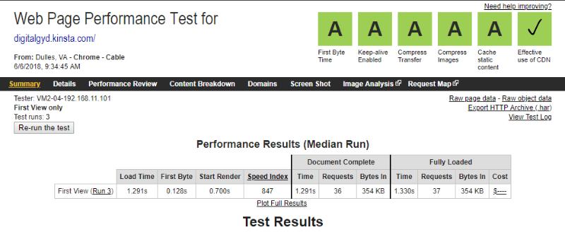kinsta performance test webpagetest