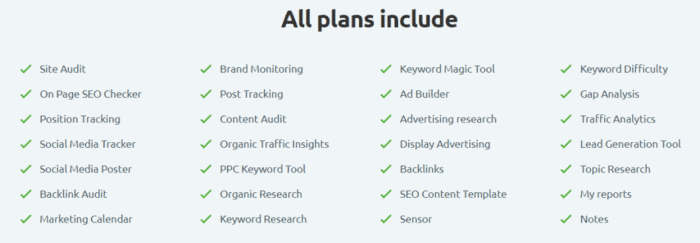 SEMrush features list