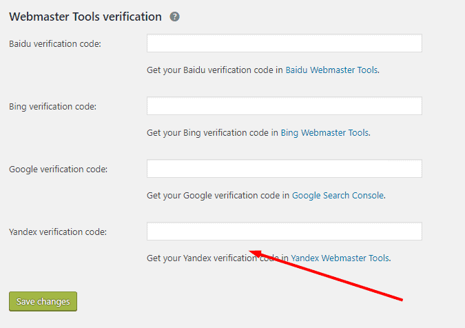 How to verify Yandex using Yoast SEO