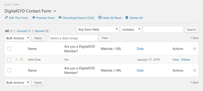 Form entry management in WordPress Dashboard with WPForms