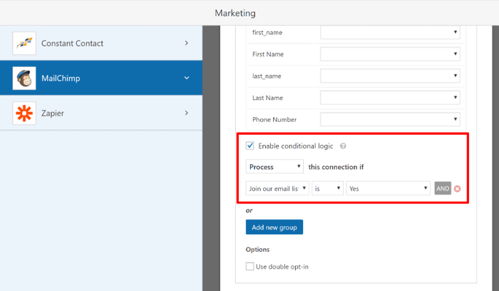 Form builder plugin with email marketing conditional logic