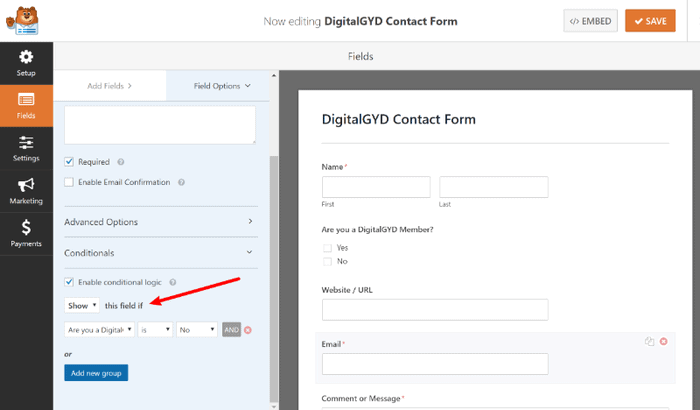 Applying conditional logic in WPForms