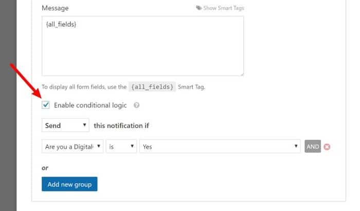 conditional notification with WPForms