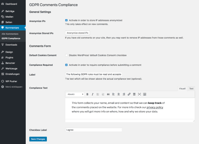 GDPR Comments WordPress Plugin