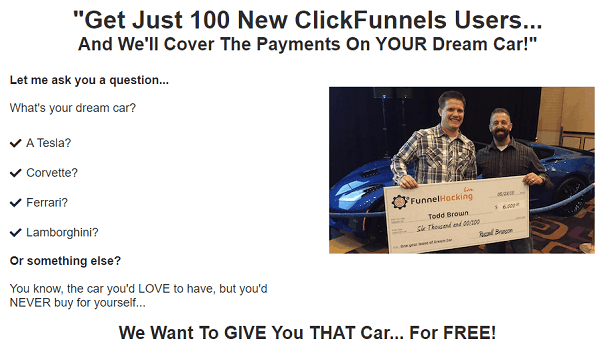 What's your dream car prize by Clickfunnels affiliate program