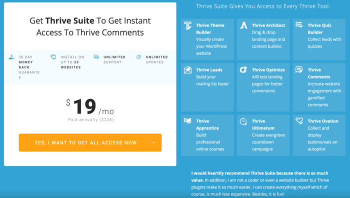 Thrive Comments pricing review