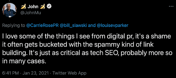 John Mu tweets that Digital PR is not spammy and is in fact as critical as technical SEO