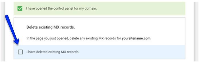delete existing MX record