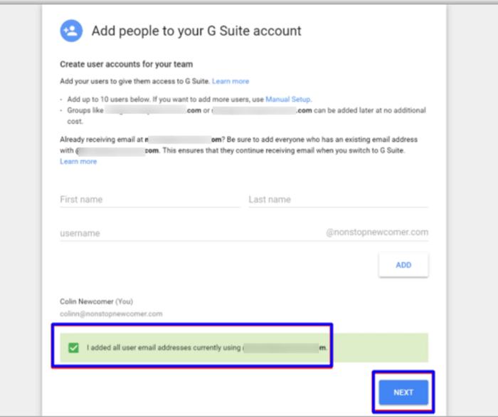 add people to your G Suite for email account