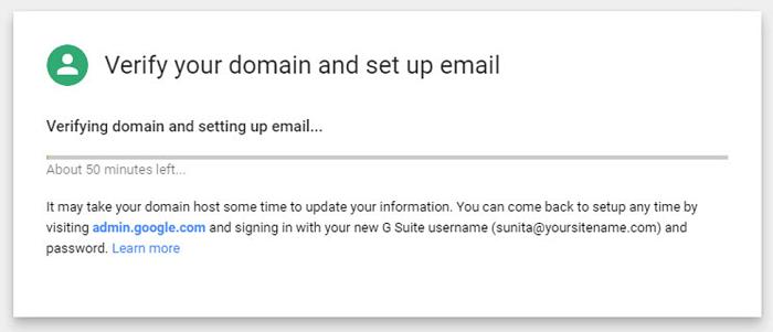 domain verification process in G Suite