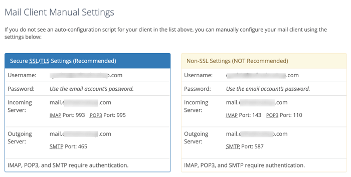 mail client manual settings in bluehost