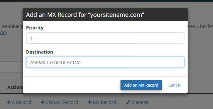 Add the new MX record