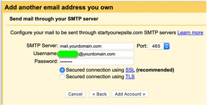 set up SMTP server details for your professional email account on Gmail