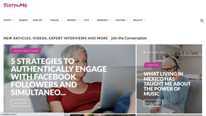 sixty and me blogs for women over 50,60