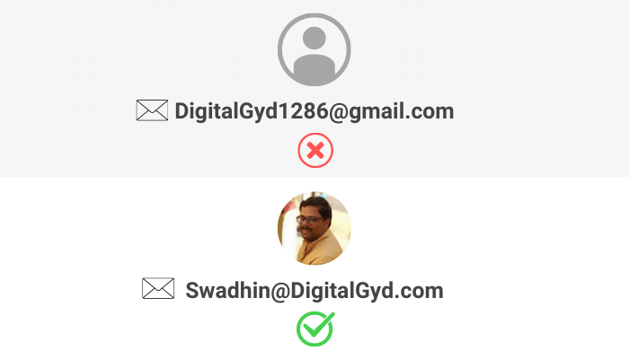 Personal vs Professional email address with example