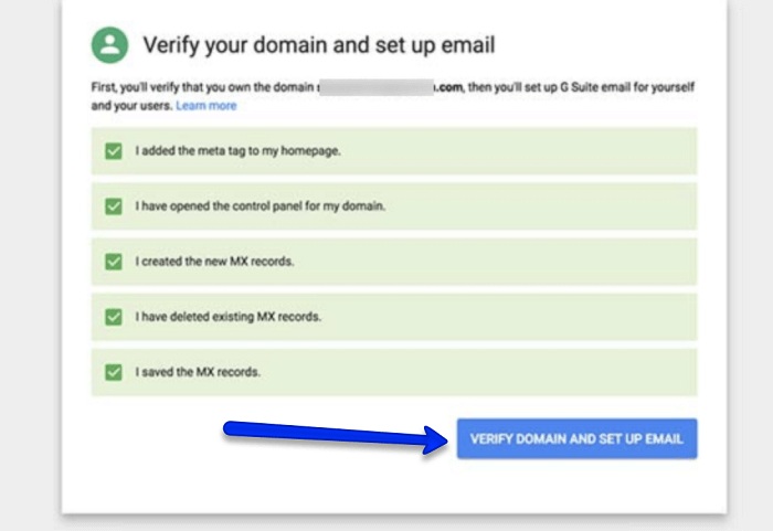 verify your domain and complete your G Suite setup